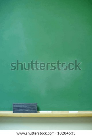Blank vertical chalkboard with eraser and chalk. VECTOR. - stock vector