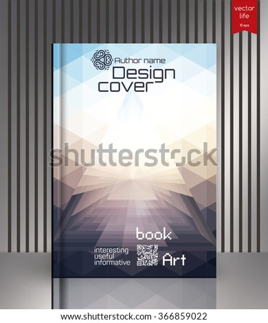 Blank vertical hardcover book template with red bookmark standing on gray surface. Book cover design isolated over colorful background, vector illustration. Vector image covers for books, notebooks - stock vector