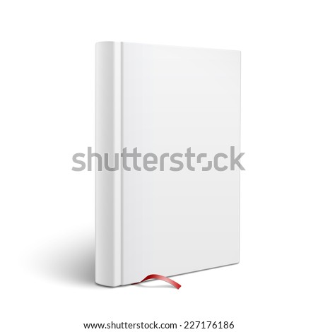 Blank vertical hardcover book template with red bookmark standing on white surface  Perspective view. Vector illustration. - stock vector