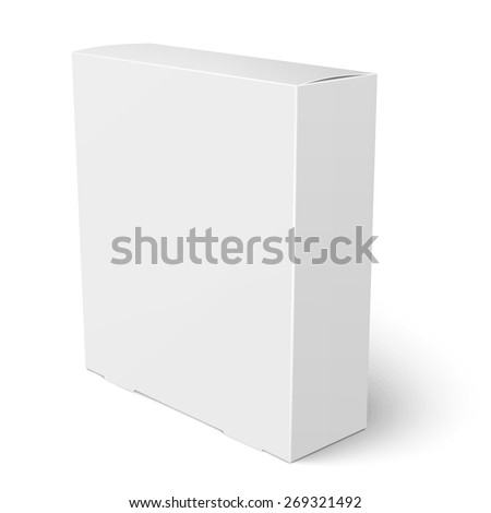 Blank vertical paper box template standing on white background. Packaging collection. Vector illustration. - stock vector