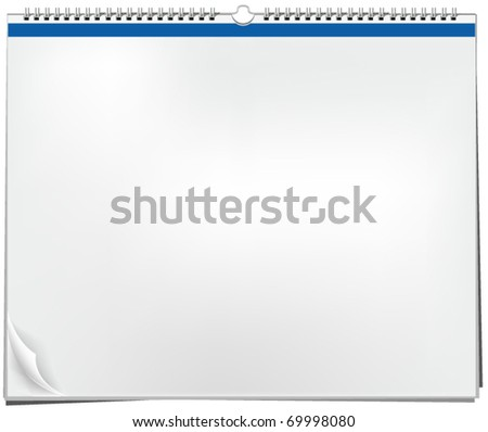 Blank wall calendar with spring - stock vector