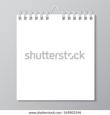 Blank wall calendar with spring. Vector - stock vector