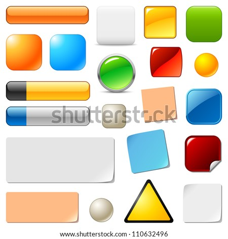 Blank web buttons and stickers. Vector templates set. Empty multicolor labels, banners, bars, icons, design elements for your website