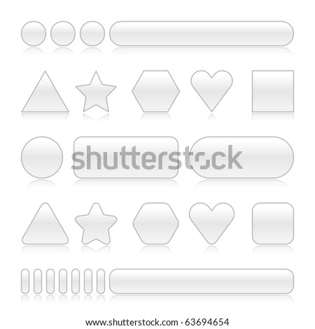 Blank web 2.0 buttons with reflection. Gray color various forms on white background - stock vector