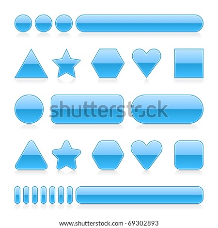 Blank web 2.0 glossy buttons with reflection. Blue various forms on white background - stock vector