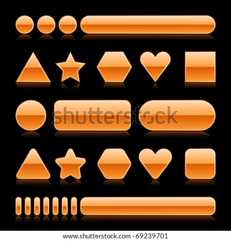 Blank web 2.0 glossy buttons with reflection. Orange various forms on black background - stock vector