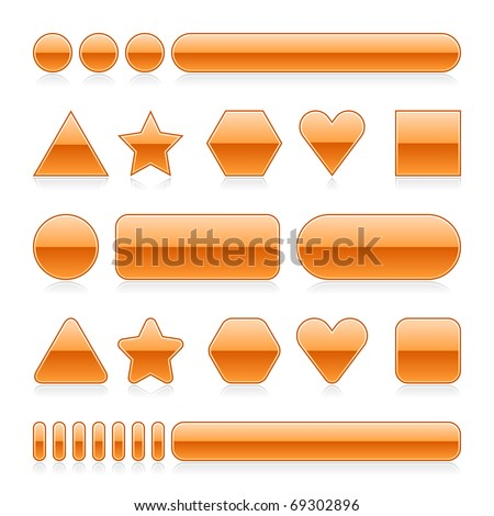 Blank web 2.0 glossy buttons with reflection. Orange various forms on white background - stock vector