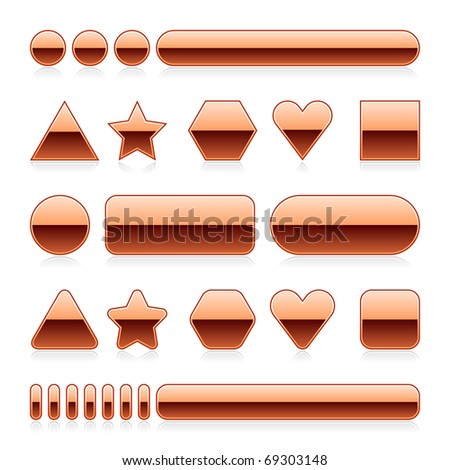 Blank web 2.0 metal buttons with reflection. Copper various forms on white background - stock vector
