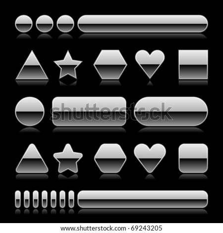 Blank web 2.0 metal buttons with reflection. Silver various forms on black background - stock vector
