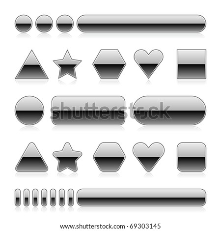 Blank web 2.0 metal buttons with reflection. Silver various forms on white background - stock vector