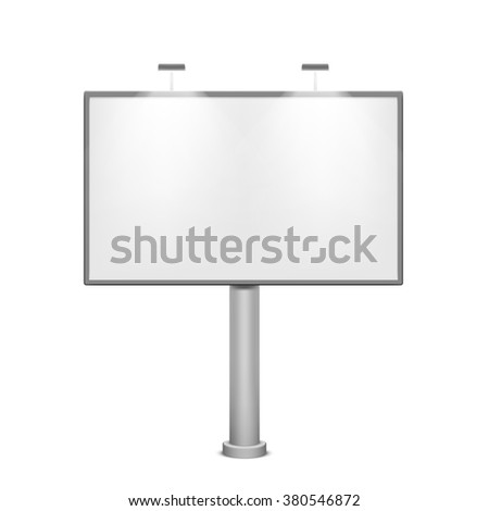 Blank white billboard. Metal construction for advertising. Isolated on white background. Stock vector illustration. - stock vector