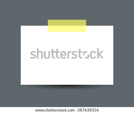 Blank white business card with scotch tape and soft shadow isolated on dark background. White paper card. Realistic vector illustration of paper card with space for text - stock vector