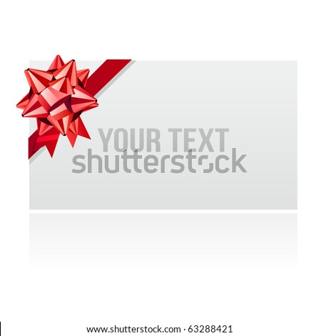 Blank white card with red  bow - stock vector