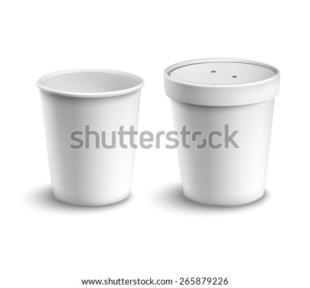 Blank white cardboard coffee drink cups set with lid isolated vector illustration - stock vector
