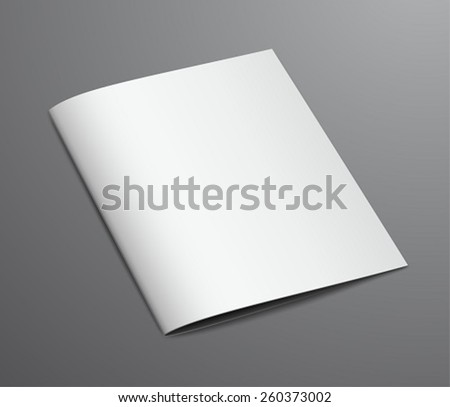 Blank White Closed Brochure Magazine, Isolated on Dark Background - stock vector