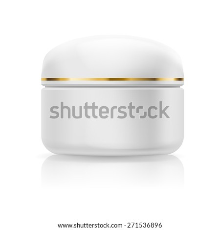 Blank white cream with golden stripe isolated on a white background - stock vector