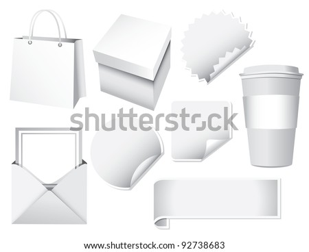 Blank White Design Objects Elements with space for your design. EPS 8 vector, grouped for easy editing, no open shapes or paths. - stock vector