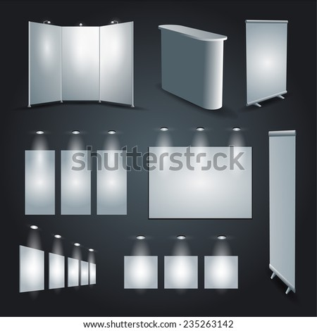 Blank white expo stand advertising banners set - stock vector