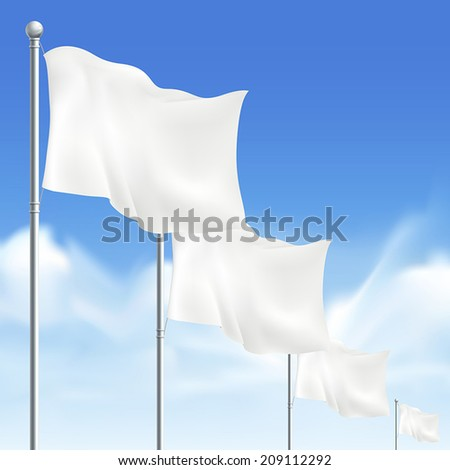 blank white flags isolated on white background - stock vector