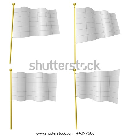 Blank white flags vector template with black grid isolated on white. The grids are on separate layer and can be easily deleted. - stock vector