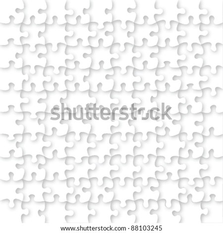 Blank white jigsaw puzzle vector - stock vector