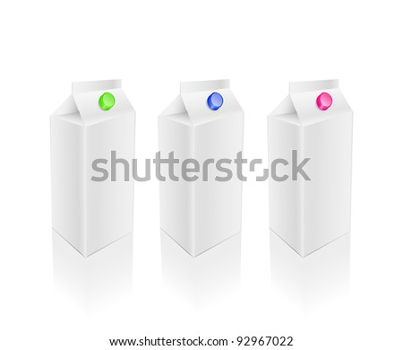 Blank white milk juice packages set isolated on white background