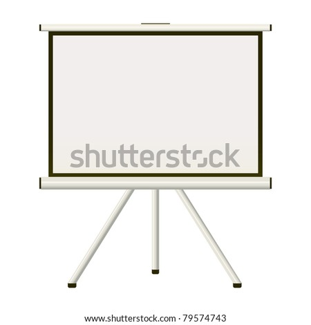 Blank white modern blank projector screen that folds away - stock vector