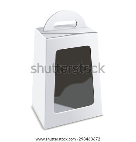 blank white package box with plastic window isolated on white background - stock vector