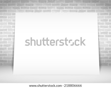 Blank white paper banner on white brick wall, vector eps10 illustration - stock vector