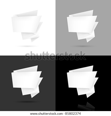 Blank white paper origami speech bubble with black shadow and reflection on white, gray, black background. This vector illustration created in the technique of mesh