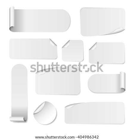 Blank white paper stickers isolated on white background. Round, square and rectangular sticker template. Sale and Clearance stickers and banners. Big Sale promotion. Blank white Sticker Templates - stock vector