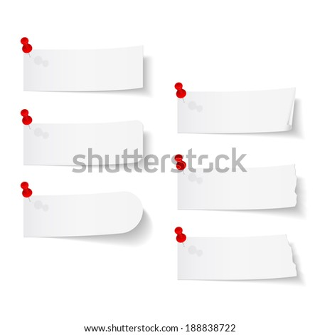 Blank white paper with push pins on white background, vector eps10 illustration - stock vector