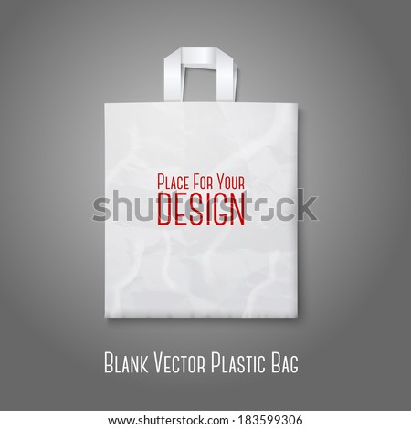 Blank white plastic bag isolated on grey background with place for your design and branding. Vector - stock vector