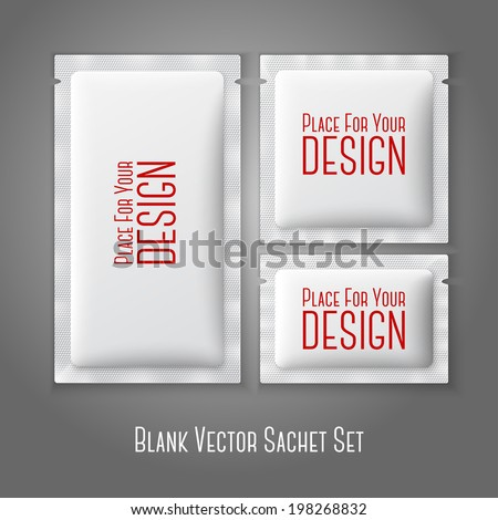 Blank white plastic sachets for coffee, sugar, salt, spices, medicine, condoms, drugs, isolated on grey background with place for your design and branding. Vector - stock vector