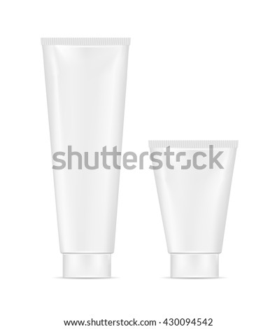 Blank white plastic tube for cosmetic, lotion, tooth paste and cream. - stock vector