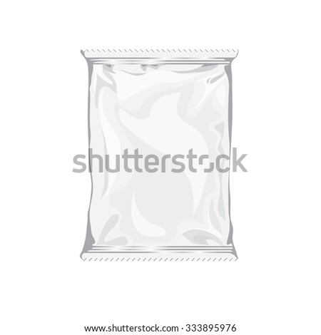 Blank white realistic foil snack pack isolated on white background. Foil package with place for your design and branding. Product packing bag. Blank plastic pocket bag - stock vector