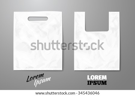 Blank white realistic plastic bag. Package for retail, pack and container object, vector illustration - stock vector