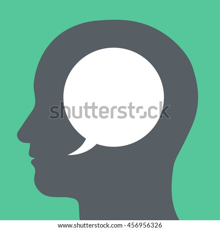 Blank white speech bubble with copy space for your text inside a human head silhouette in a conceptual illustration on a green background - stock vector
