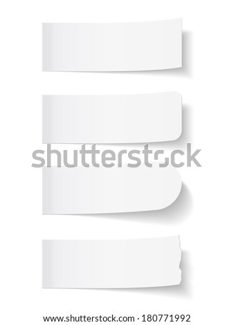 Blank white sticky notes, vector eps10 illustration - stock vector