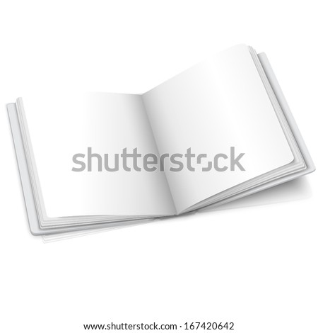 Blank white vector opened book or photo album for your messages, design concepts, photos etc. Isolated on white background with soft reflection - stock vector