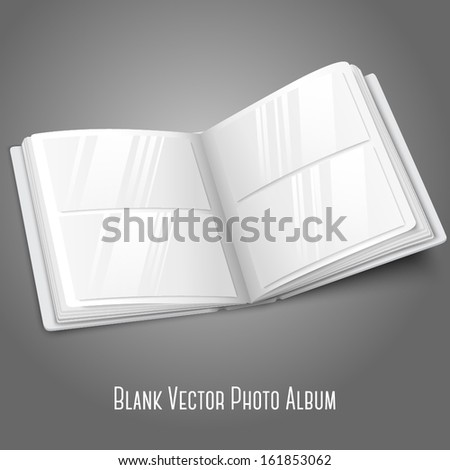 Blank white vector opened photo album for your messages, design concepts, photos etc. - stock vector