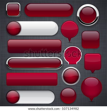Blank wine red web buttons for website or app. Vector eps10. - stock vector