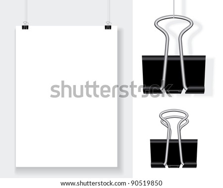 blank with binder clips - stock vector