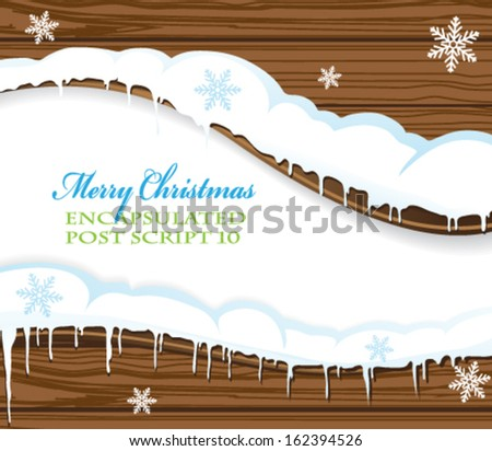 Blank wooden billboard covered with snow. Abstract winter background - stock vector