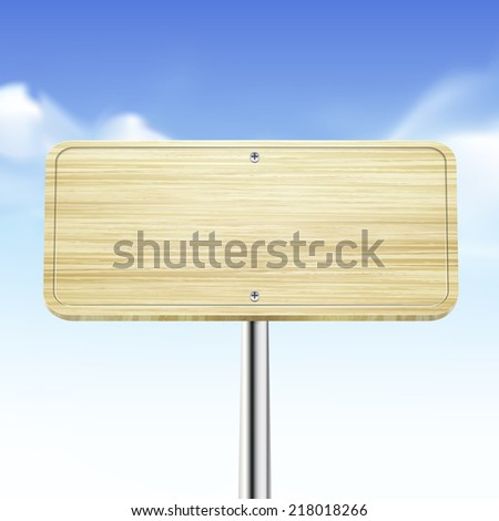 blank wooden traffic road sign over blue sky - stock vector