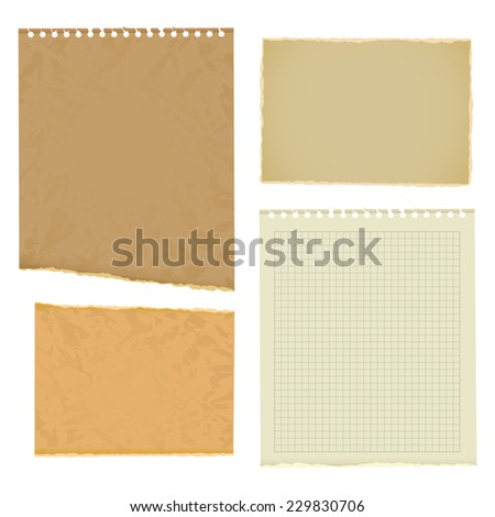 Blank worksheet exercise book. Old thick paper with ragged edge. Vector illustration. Isolated on white background. Set - stock vector