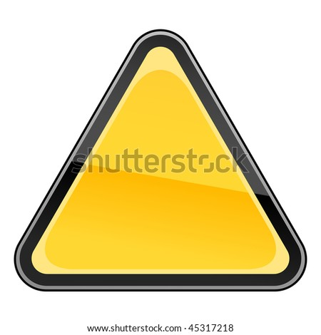 Blank yellow hazard warning sign on a white background - stock vector