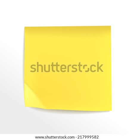 blank yellow note paper on white background