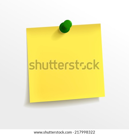 blank yellow note paper with pin on white background - stock vector