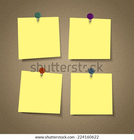 blank yellow reminder sticky note isolated on corkboard - stock vector